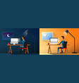 business life or designer workaholic worker in vector image