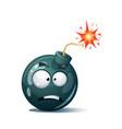 cartoon bomb fuse wick spark icon scared vector image