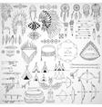 collection tribal doodle design elements frames vector image vector image