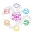 Color chakra icon set outline with om background vector image