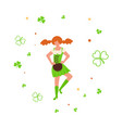 cute cartoon girl leprechaun dancing vector image vector image