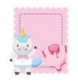 cute little unicorn bawith clothes in card vector image vector image