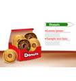 donuts box realistic 3d deliclous dessert vector image vector image