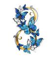 eight morpho butterflies vector image vector image