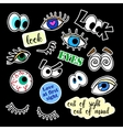 Fashion patch badges Eyes set Stickers pins vector image vector image
