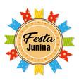 festa junina circle frame colorful ribbon white ba vector image