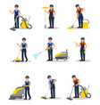 flat set of professional cleaners with vector image
