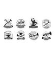 forge blacksmith logo or label blacksmithing set vector image