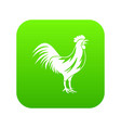 gallic rooster icon digital green vector image