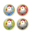 golden badges with chicken head and lettering vector image vector image