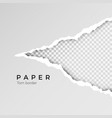 gray ripped open paper with transparent vector image vector image