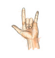 hand showing rock gesture vector image