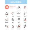 hand signs - modern line design icons set vector image