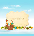happy easter background eggs in a basket vector image