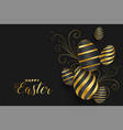 happy easter golden eggs festival banner design vector image