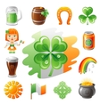 Happy Saint Patrick day icon set flat icons vector image