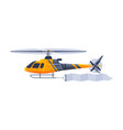 helicopter with blank banner flying in sky vector image vector image