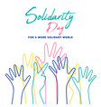 human solidarity day colorful hands vector image vector image