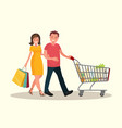 husband and wife shopping vector image vector image