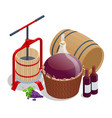 isometric wine production crushing and pressing vector image