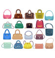 leather handbags woman colorful luxury modern vector image vector image