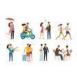 loving couple set of icons family love concept vector image