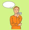 man talking on smartphone vector image vector image