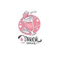 milk shake handdrawn lettering logo vector image vector image