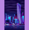 modern city quay night landscape cartoon vector image vector image