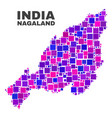 mosaic nagaland state map of square elements vector image vector image