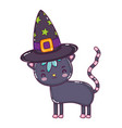 nice cat animal with witch hat vector image vector image