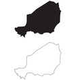 niger country map black silhouette and outline vector image vector image