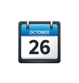 October 26 Calendar icon flat vector image vector image