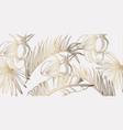 palm leaves pattern golden tropic line art summer