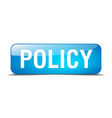 policy blue square 3d realistic isolated web vector image vector image