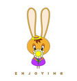 rabbit and flower vector image