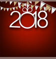 red 2018 new year card vector image vector image