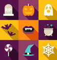 Set of Flat Design Halloween Grave Ghost Pumpkin vector image