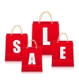 Set of Red Empty Shopping Bags Isolated vector image