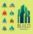 skyscrapers buildings label tower office city vector image vector image