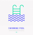 swimming pool thin line icon with ladder vector image