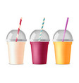 takeout fast food plastic glasses vector image vector image