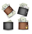 wallet set dollar banknotes realistic 3d vector image vector image