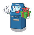 with gift atm machine next to character table vector image vector image