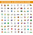 100 school and education icons set cartoon style vector image vector image