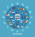 3d printing design composition vector image vector image