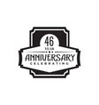 46th year anniversary logo design template vector image vector image