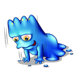 A blue monster exercising alone vector image vector image