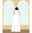 A-line wedding dress on mannequin in saloon vector image vector image