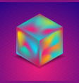abstract holographic liquid 3d cube on blue purple vector image